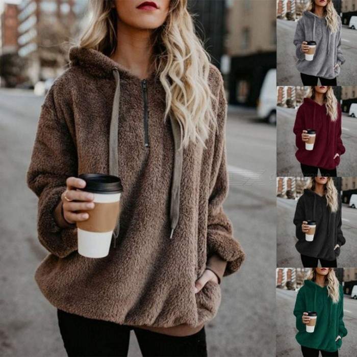 Autumn Winter Solid Color Long-Sleeved Fleece Casual Sling Hooded Sweater Hoodies Pullovers For Woman Girl Black/S
