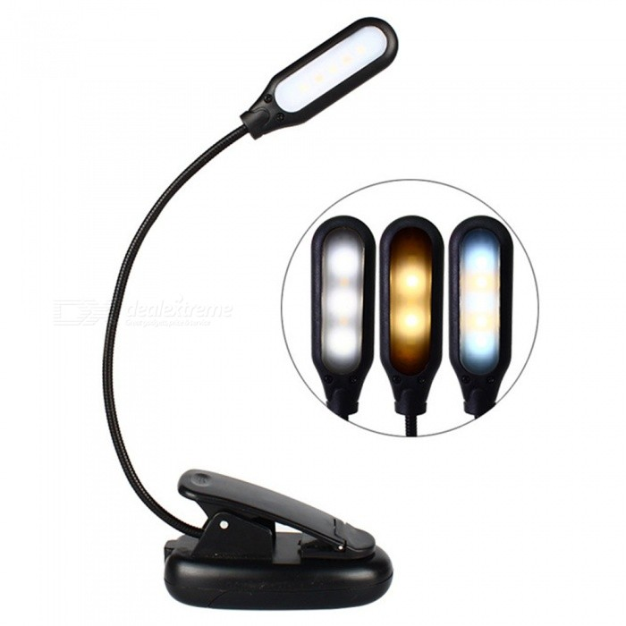 Portable Folding 5-LED Clip-On Book Reading Light, USB Charging 3-Mode Eye Protection Desk Table Lamp With Cable Black/0-5W