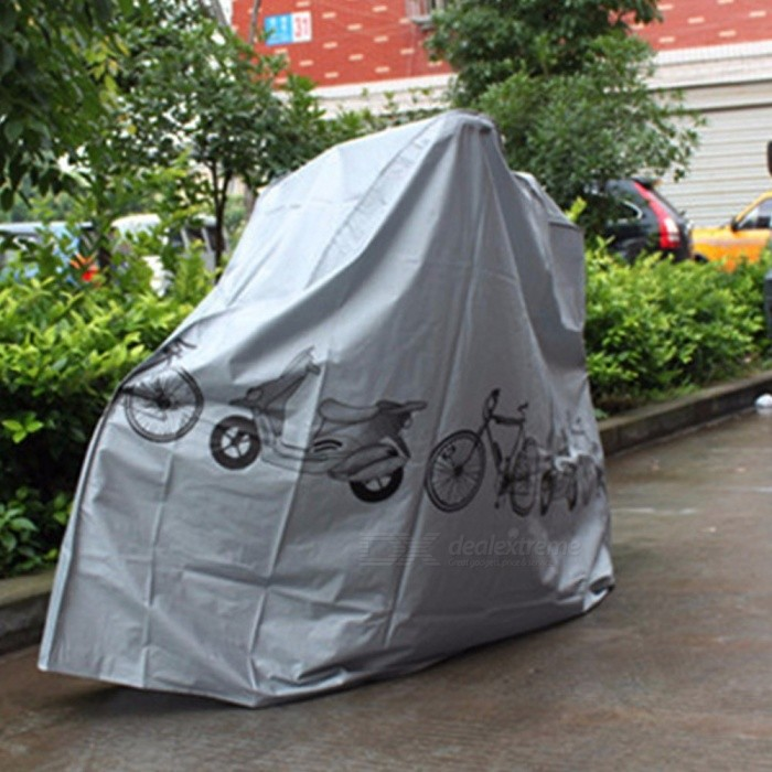 Motorbike Bike Motorcycle Rain Dust Cover, Outdoor Waterproof Polyester Moto Scooter Protector Cover Gray