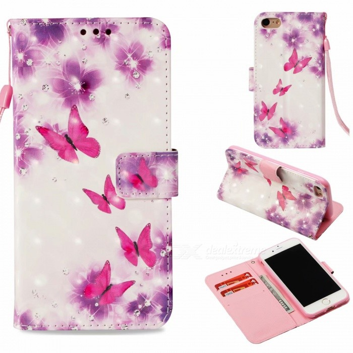 3D Pattern  Case , Cash Wallet Case with Card Holder Function for  Iphone X/6 6S 7 8/6 6S 7 8 Plus - Flower Butterfly