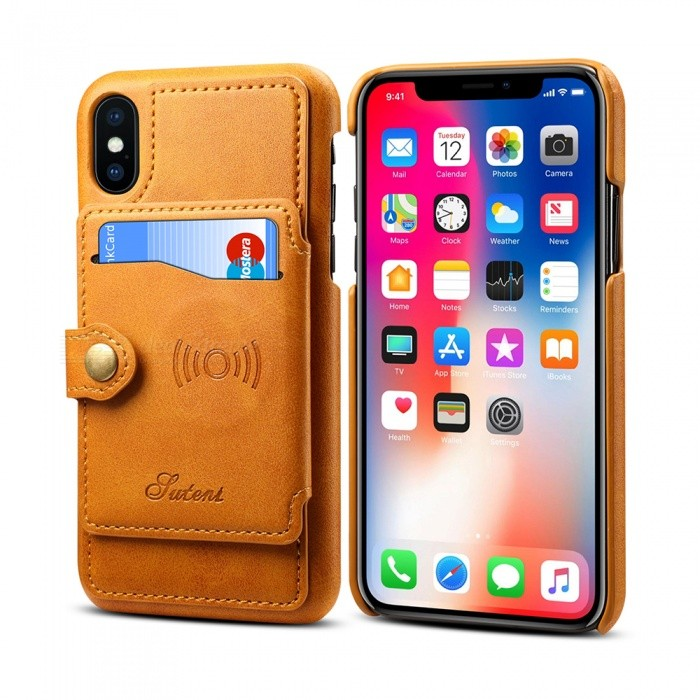 info for 12086 fc3f2 Measy H06 Wallet Phone Case PU Leather Slim Back Case Card Holder, Support  Car Mount for IPHONE X - Khaki