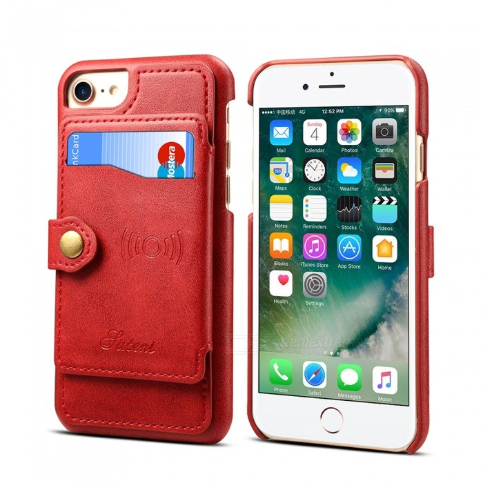 Measy H06 Wallet Phone Case PU Leather Slim Back Case Card Holder, Support Car Mount for IPHONE 6/6S/7/8 - Red