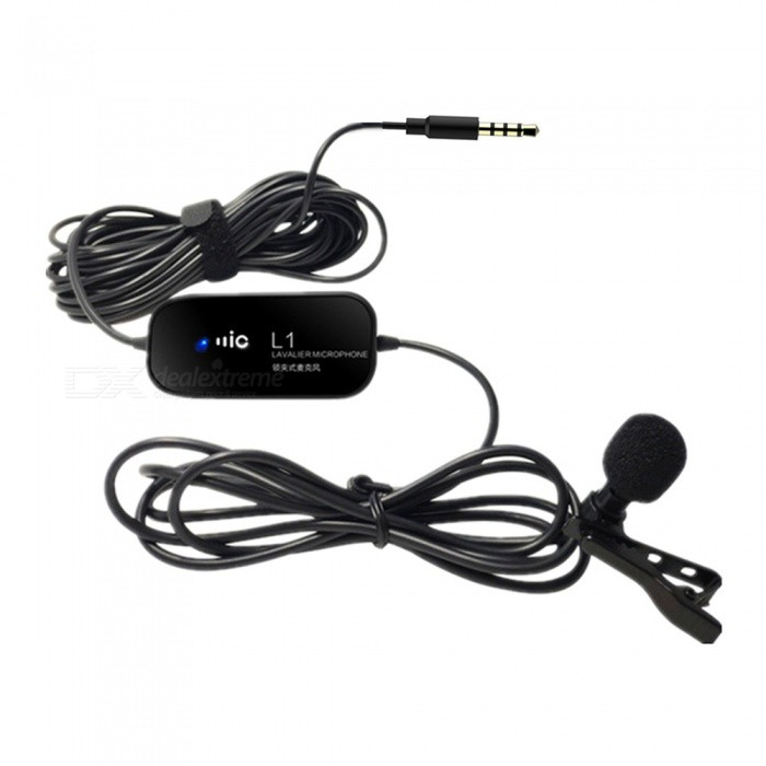 L1 3.5mm Plug Wired Video Recording Interview Microphone with Clip for SLR Camera, Mobile Phone - Black