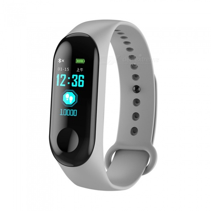M3C Color Screen Smart Bluetooth Bracelet with Heart Rate/Blood Pressure/Blood Oxygen/Sleep Monitoring - Grey