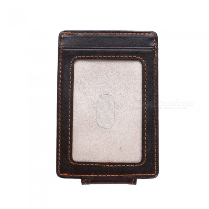 GUBINTU Genuine Leather Men Slim Thin Mini Wallet Male Small Purse Money Clip Credit Card - Deep Brown