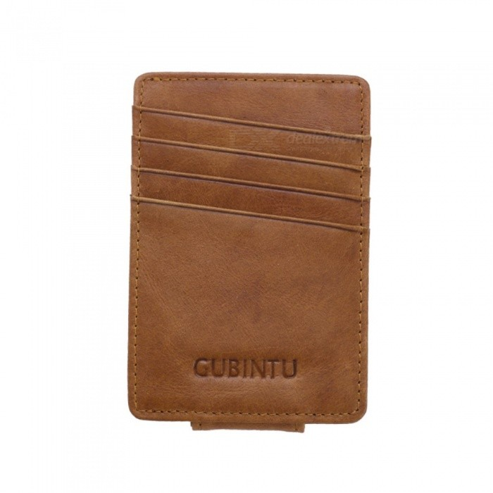GUBINTU Magic Men's Leather Card Holder, Money Cash Wallet Purse - Coffee