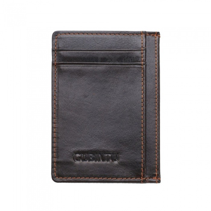 GUBINTU Leather Magic Wallets Mens Leather Card Holder Money Cash Wallet Purses - Dark brown