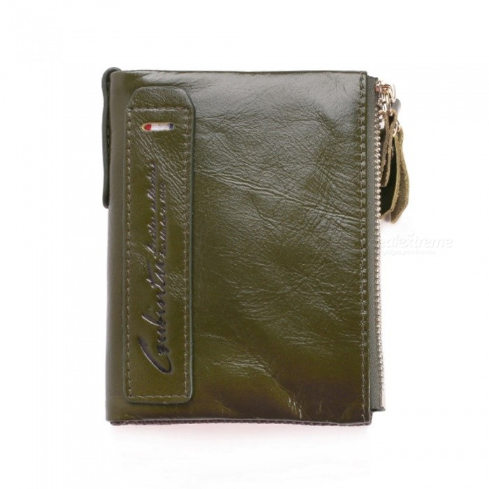 GUBINTU Men's Top Cowhide Leather Folded Wallet w/ Coin Pocket - Green