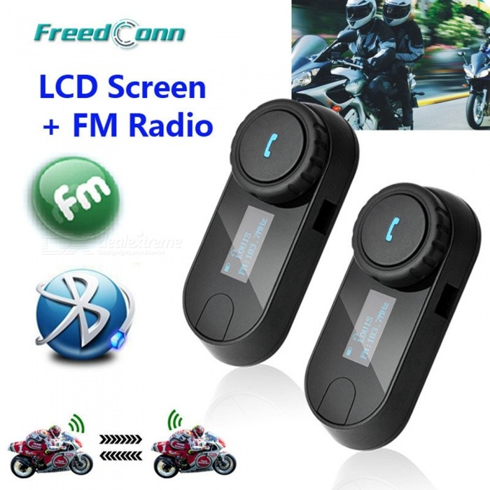 2Pcs Updated TCOM-SC BT Bluetooth Motorcycle Helmet Intercom Interphone Headset - EU Plug
