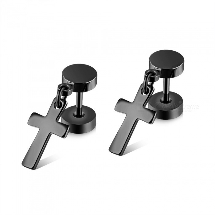 XSUNI Titanium Steel Barbell Cross Studs Double-sided Twisted Screw Dumbbell Earrings - Black
