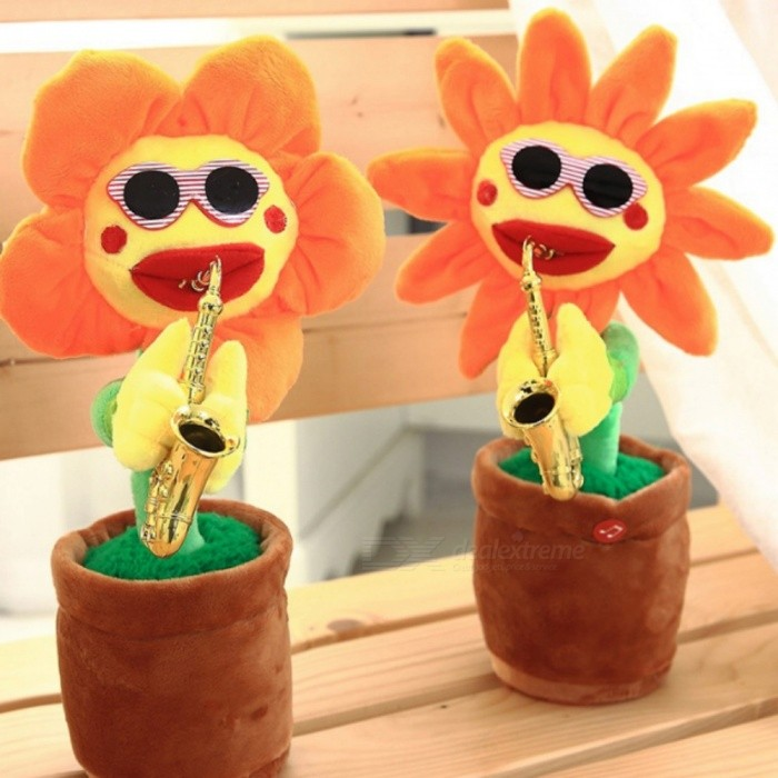 Sunflower Toys, Stuffed Animals, Singing and Dancing, Playing Saxophone Sunflowers