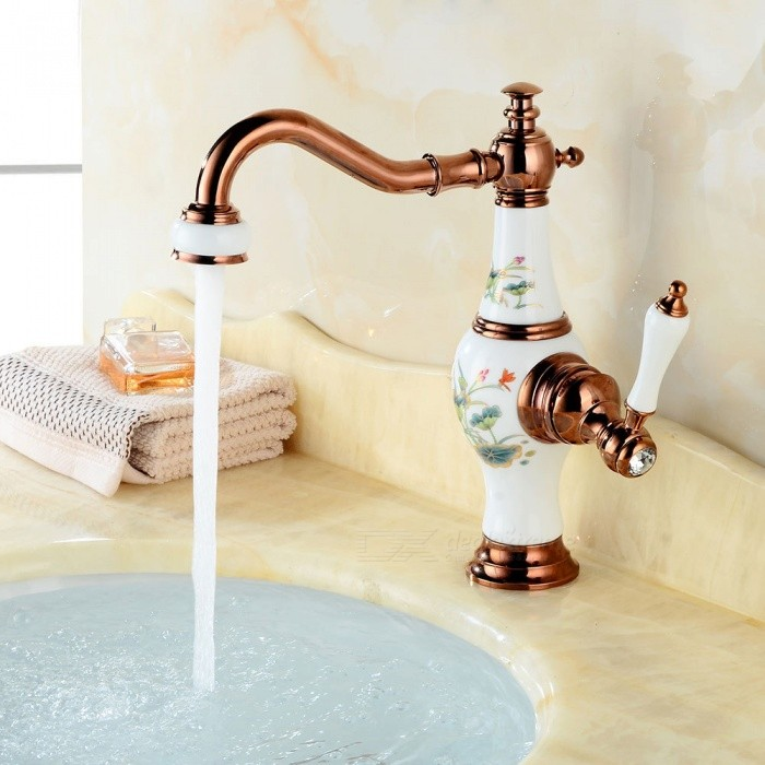 Contemporary Brass 360 Degree Rotatable Deck Mounted Ceramic Valve One Hole, Bathroom Sink Faucet w/ Single Handle