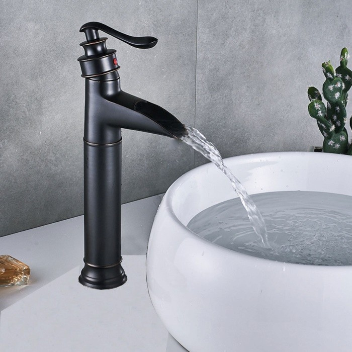 Brass Waterfall Ceramic Valve One-Hole Bathroom Sink Faucet w/ Single Handle