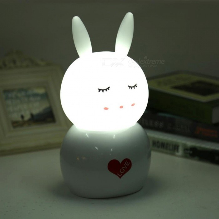 Jiawen Rabbit Night Light, USB Rechargeable Kids Desk Lamp for Home Children Bedroom - White Light