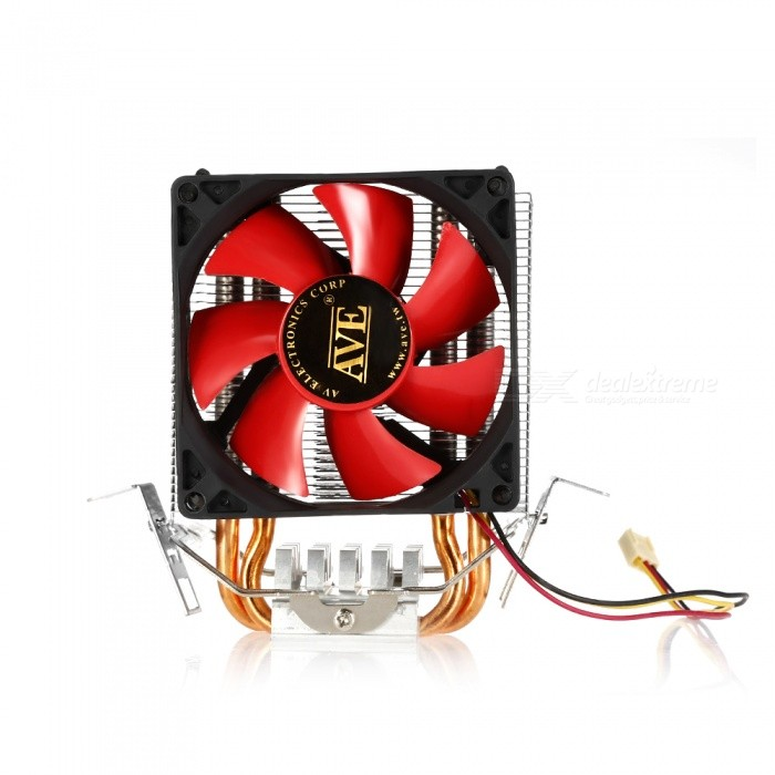 Dual Copper Tube and Aluminum Fin Silent Radiator Cooling Fan - Red