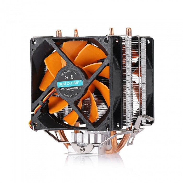 GL7 Double Heat Radiator Multi-platform Universal Mute Dual Fan - Orange + Black