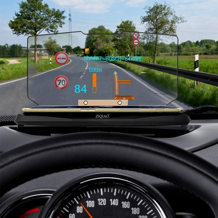ZIQIAO GPS Navigation Bracket HUD Head Up Display / Phone Holder - Black