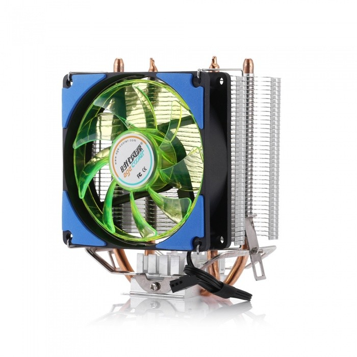 D6 Dual Copper Tube + Aluminum Fin CPU Cooling Fan with LED Light - Blue
