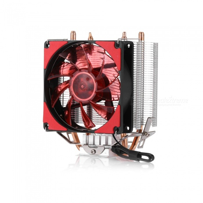 D6 Dual Copper Tube + Aluminum Fin CPU Cooling Fan with LED Light - Red