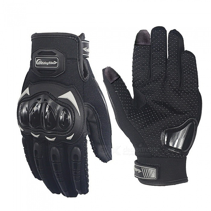Riding Tribe Motorbike Racing Glove Touch Screen Gloves - Black (Pair / L-Size)