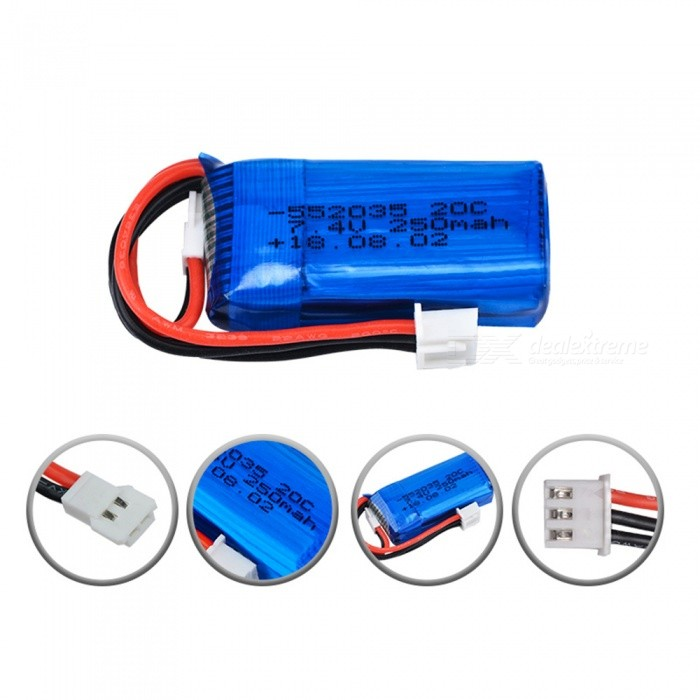 7.4V 250mAh 20C 2S Losi Micro SCT 1/24 Short Card Battery for Mini Remote Control Car 1/24 Rc Mini Helicopter