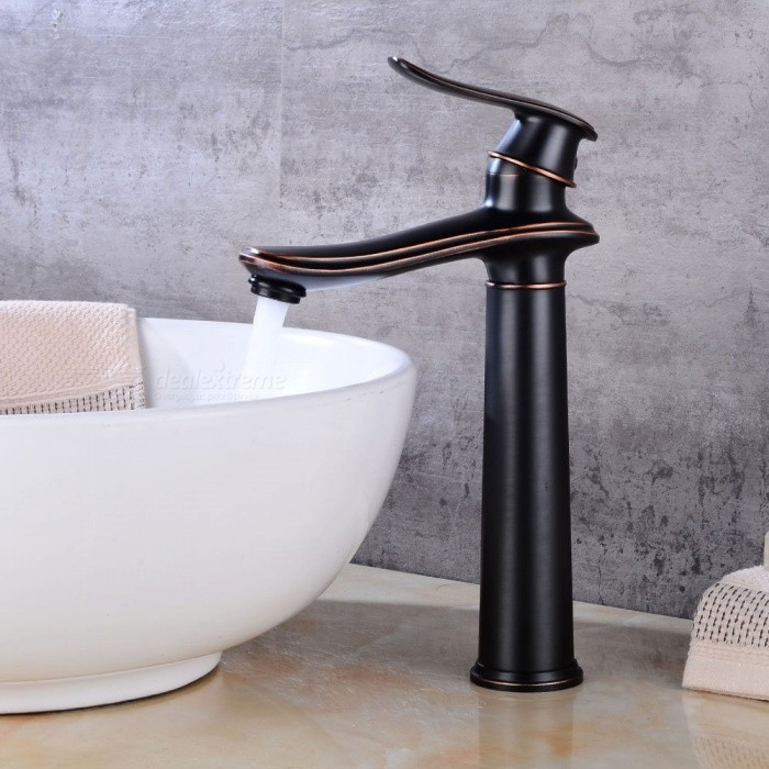 Brass Ceramic Valve One-Hole Bathroom Sink Faucet w/ Single Handle - Black