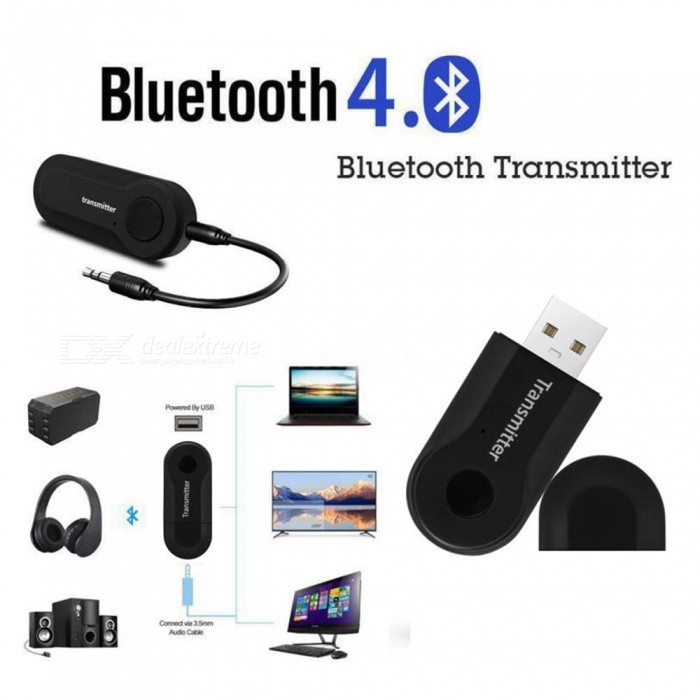 Wireless Bluetooth Transmitter Stereo Audio Music Adapter for TV Phone PC - Black