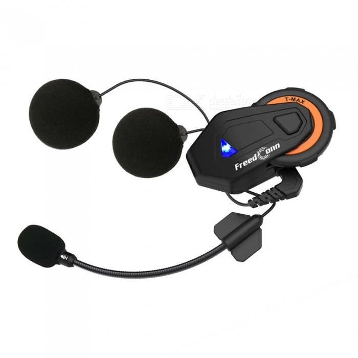 T-Max Motorcycle Group Talk System, 1000M 6 Riders BT Interphone Helmet Intercom Headset - EU Plug