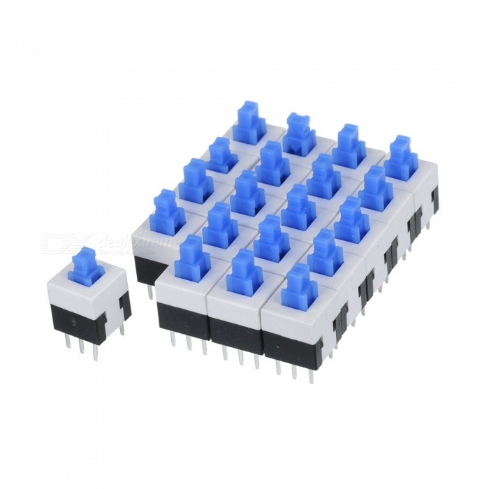 Self-locking Switch 6 Feet 8*8mm 20 PCS - White + Black + Blue