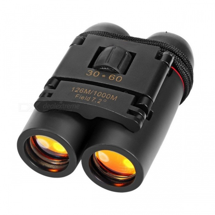 Day Night High Quality Binocular Vision 30 X 60 Zoom Outdoor Travel Folding Binoculars Telescope For Adults 126M-1000M Black