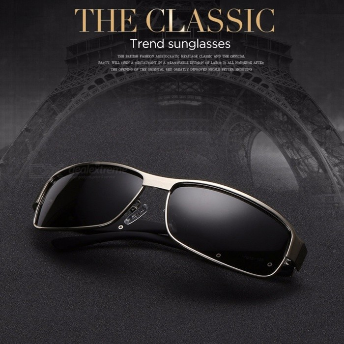 New Men's Polarized Sunglasses Rectangle Coating Driving Glasses Mirrored Sport Sun Glasses Black