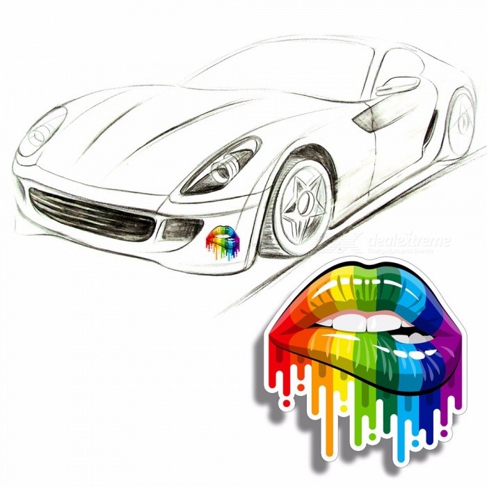 13CM * 13.CM Funny Rainbow Sensual Lips Sticker Sexy Abstract Paint Gay PET Decal Car Motorcycle Stickers Multi