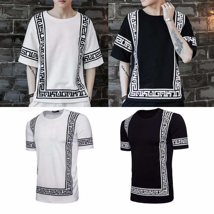 Hip Hop Digital Print Summer T-Shirt For Men Casual Cotton Loose Short Sleeve Long T-shirt Black/M