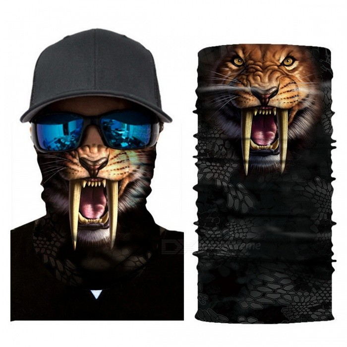 Digital Animal 3D Print Seamless Magic Variety Sports Scarf Outdoor Riding Headscarf Headband Sunscreen Hat White