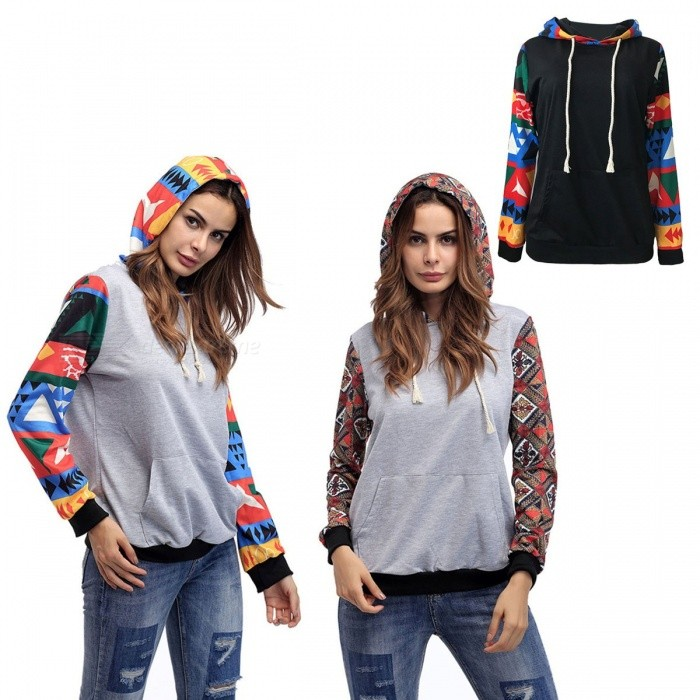 Autumn Winter Geometric Hooded Sweaters Women Long Sleeve Hoodies Pullovers Knitted Thick Warm Sweatshirts Black/S