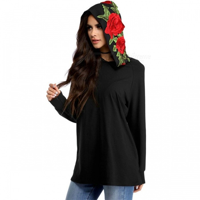 Autumn Winter Women's Long Sleeve Hoodies Embroidery Rose Hooded Sweatshirt Floral Knitted Solid Pullovers For Women Black/S