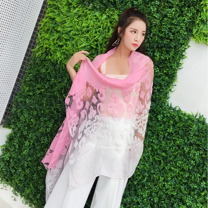 Spring Women Silk Organza Scarf Elegant Ladies Hollowed-out Jacquard Cut Flowers Lace Large Long Scarves Shawls Wrap Red