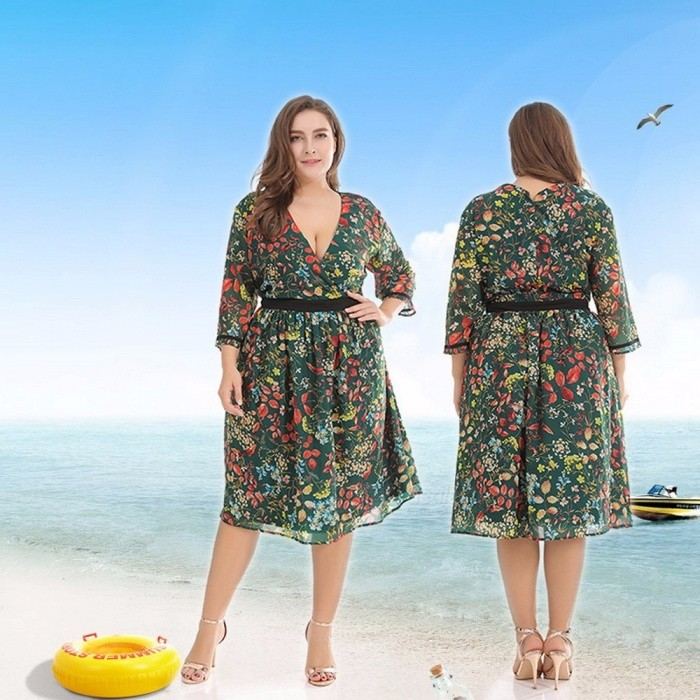 Floral Print Sexy Deep V-Neck Polyester Dress For Women Large Size High Waist Knee Length Dress Dark Green/XL