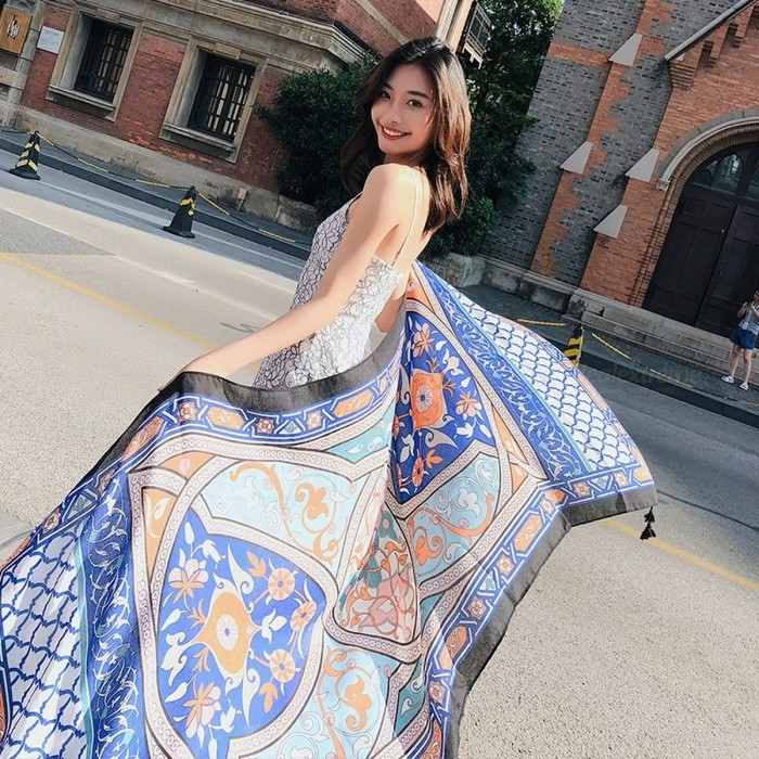 Fashion Summer Travel Beach Sun Shawl Silk Scarf All-Match Polyester Wrap Shawl For Women Blue