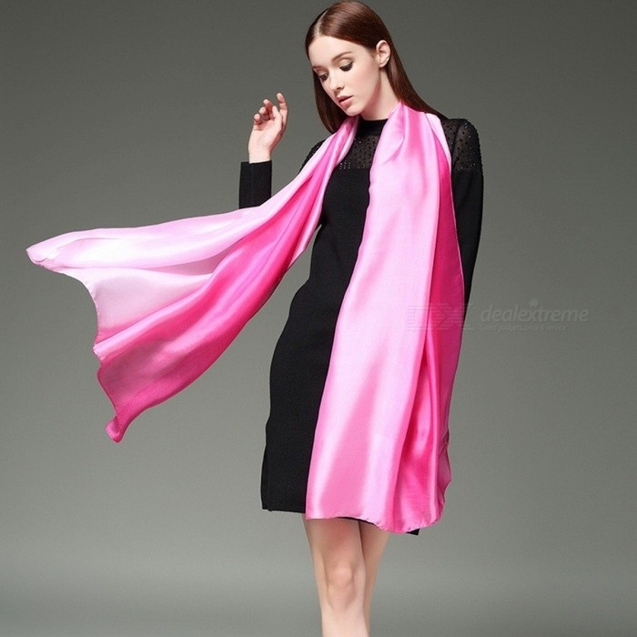 Fashion Gradient Summer Beach Sun Shawl Silk Scarf All-Match Lengthen Polyester Wrap Shawl For Women Red