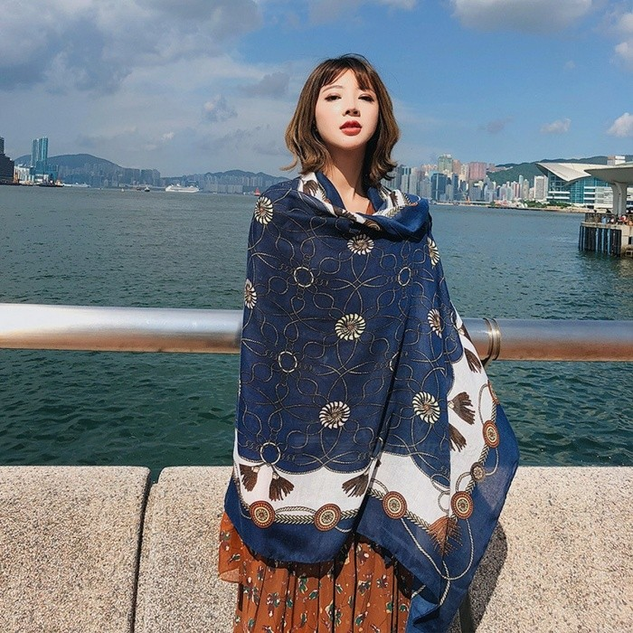 Fashion Cords Print Summer Beach Blouse Sun Shawl Polyester Scarf All-Match Lengthen Large Wrap Shawl For Women Navy Blue