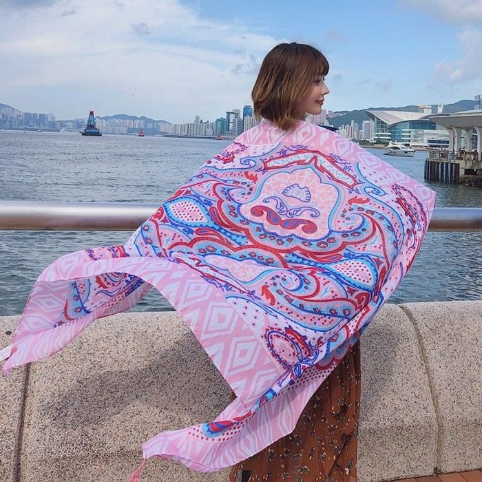 Fashion Totem Print Summer Beach Sun Shawl Scarf All-Match Large Wrap Shawl For Women Pink