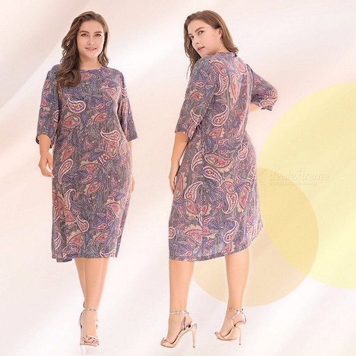 Women\'s Dress Mini Dress O-Neck Three Quarter Loose Floral Casual Knee-Length Plus Size Dresses For Women Gray Purpel/XL