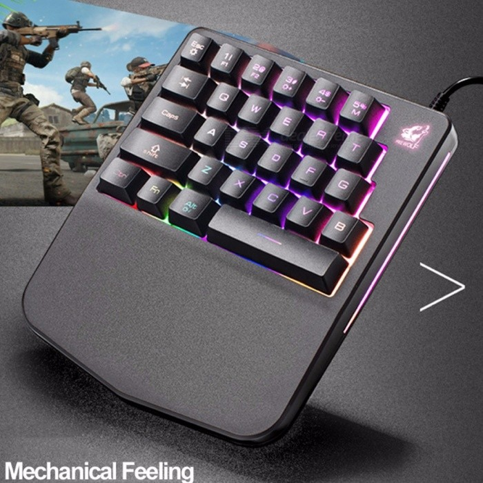 K11 Mini Portable USB Wired One-Hand Mechanical Game Keyboard With Backlight For Profession Player Black