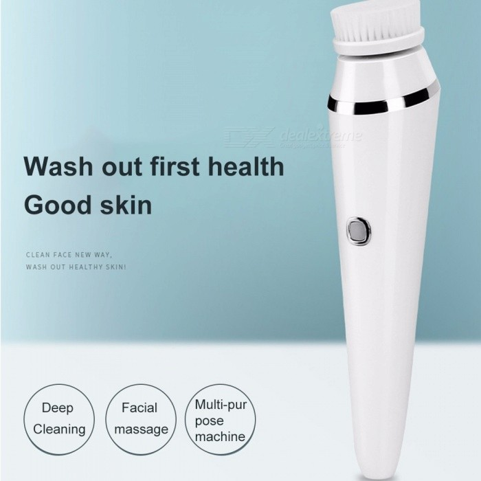 3-in-1 Rechargeable Facial Cleansing Instrument, Electric Face Cleaning Brush Pore Cleaner Facial Massager White