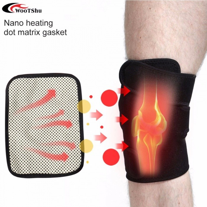 Health Care Tourmaline Self-Heating Knee Pad Support, Far Infrared Magnetic Therapy Spontaneous Heating Kneepad (1 PC) Black