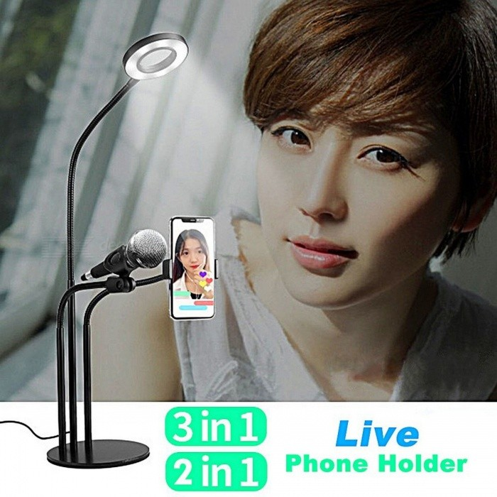 3-in-1 Cell Phone Holder With Mic And Selfie Ring Light, Live Stream Clip Holder, Internet Desk Phone Lazy Bracket Stand Black