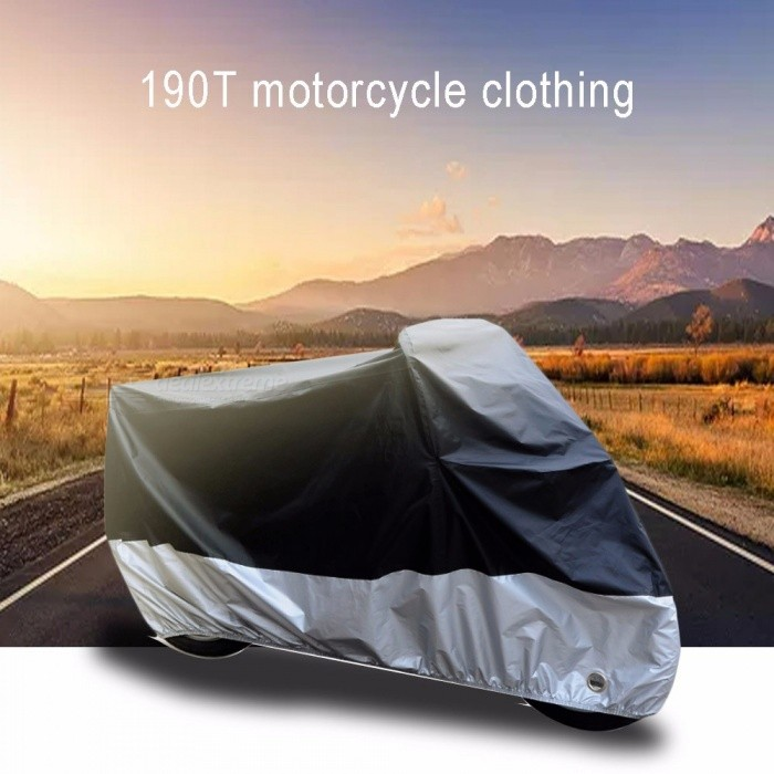 190T Motorcycle Cover, Waterproof Dust-proof UV Protective Outdoor Indoor Motorbike Rain Cover With Lock Holes Design XL/Multi