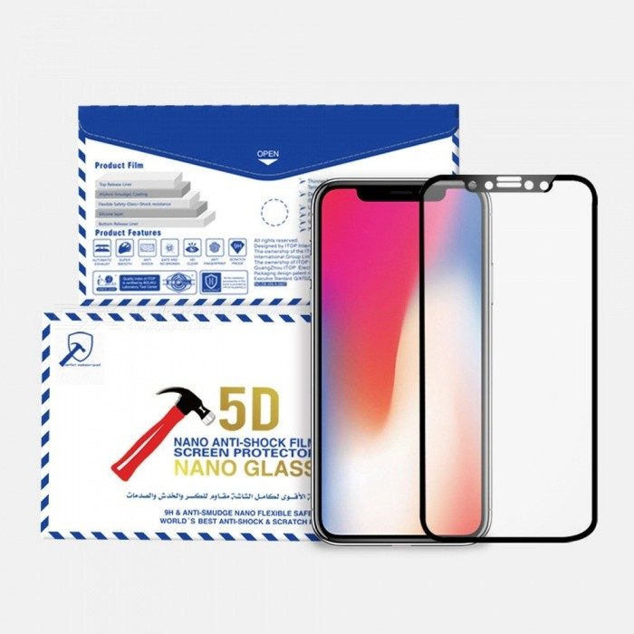Premium Anti-Scratch Explosion-proof Bendable 5D Flexible Glass Screen Protector Film For IPHONE X white