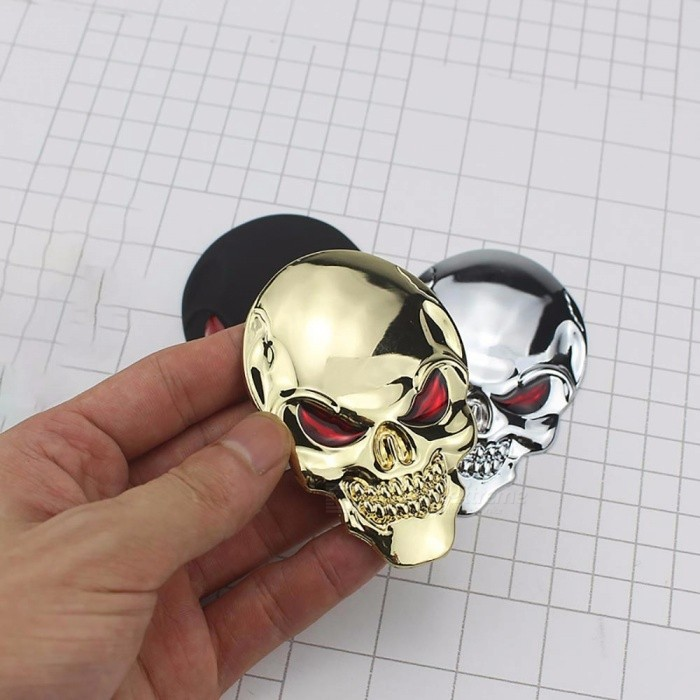 8cm Personalized 3D Car Sticker Label, Skull Bone Devil Auto Metal Emblem Badge Decal Black